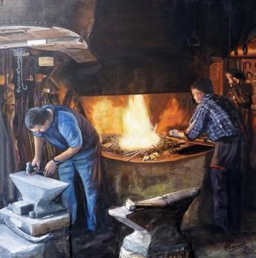 les forgerons  tableau de peinture sculpté au mortier en 3D sur toile en vente sur mon site