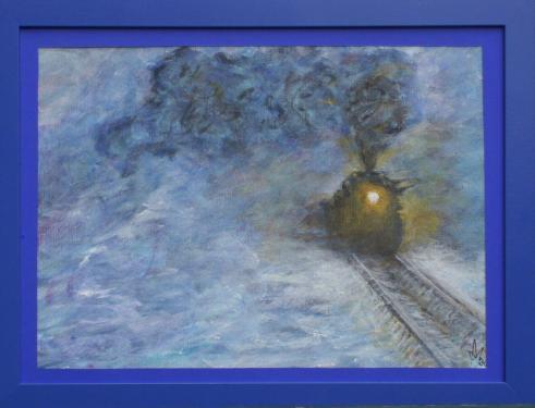 Le train blindé de Trotski, acrylique sur papier