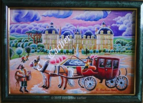 S�rie les ch�teaux de la Loire (12 tableaux) :une miniature que j'ai peint � l'huile sur bois: de 13x19cm ;