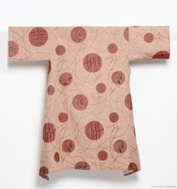 manteau d'int�rieur en lin doubl� coton, teint et imprim� aux colorants v�g�taux , taille unique ,  exemplaire unique ,  dessin exclusif fra-jos�phine�