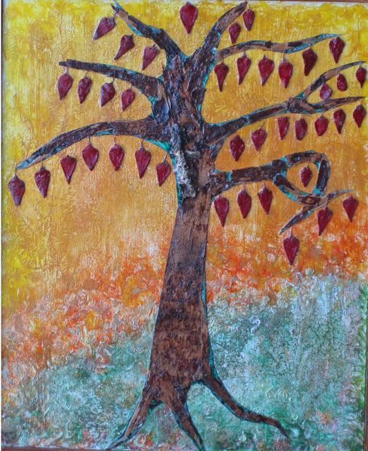 Actualité de NICOLE BOURGAIT THIERRY LE SET DES FLEURS 41. ARBRE AUX LANTERNES.  Ecorce de bouleau - Cônes de Cèdre du liban (35cm/45 cm)