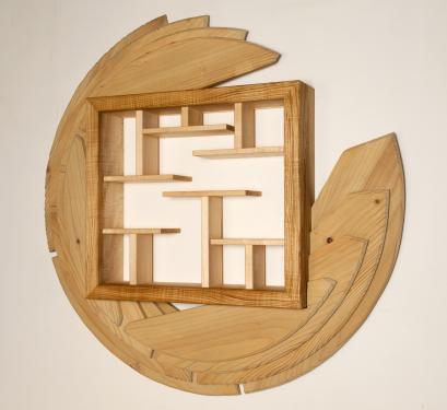 la Disquothèque  meuble de rangement pour CD 1,25 diamètre sur 16cm de profondeur en sycomore frêne et épicéa huile, ciré