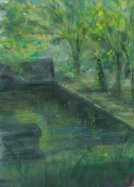 Le bassin chez C�zanne, Aix-en-Provence, acrylique sur toile