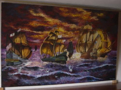 peinture � l'huile sur toile 2.20 m * 1.20m
