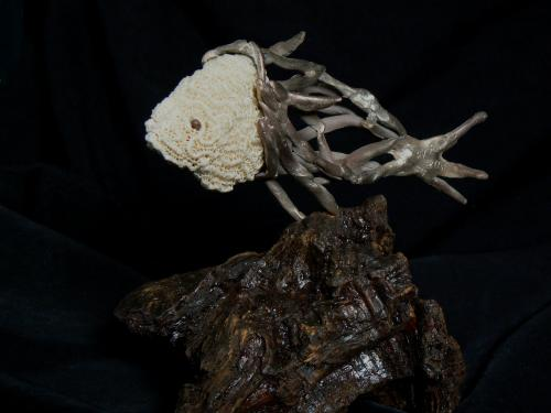 Bronze bois et corail hauteur 20cm
