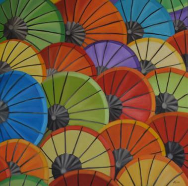 Huile sur toile 80x80 cm: Ombrelles.