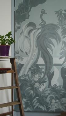 trompe l'?il sur toile stylisé d'après un décor de ZUBER 1X2M à l'acrylique Prix 1500 euros