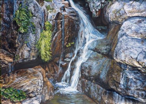 cascade et rivière de corse  tableau de peinture sculpté au mortier en 3D sur toile en vente sur mon site