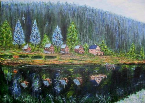 Les chalets du lac, Boh�me du sud, acrylique sur toile