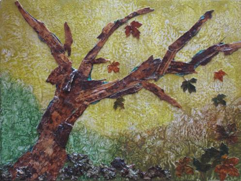 Création sur bois - Cires végétales pigmentées - Ecorce de bouleau - (40x30) Feuilles - Lichen - Qui a vu quelque fois un grand chêne asséché,   Lever encore au ciel sa vieille tête morte   Mais qui dessus le champ plus qu'à demi penché