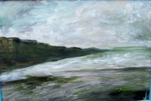 La côte, Nomandie, acrylique sur toile