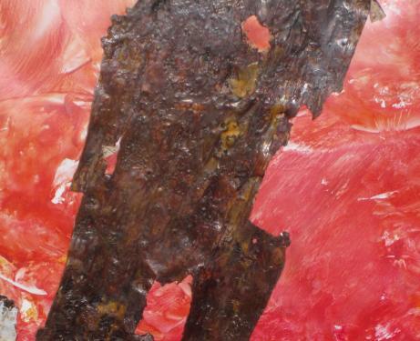 MASQUE HURLANT Création sur toile cartonnée - Cires Encaustes Pigmentées - Ecorces de bouleau blanc   Un visage est-il un masque de comédie posé sur la tragédie de l'âme ?