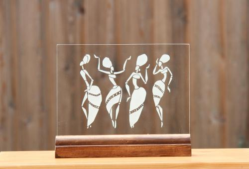 Gravure sur verre de Danseuses Africaines