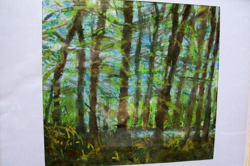 Le ruisseau dans la forêt, aquarelle
