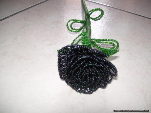 Grosse Rose Noire feuilles vertes foncée Prix unitaire: 5 euros Couleur possible sur demande