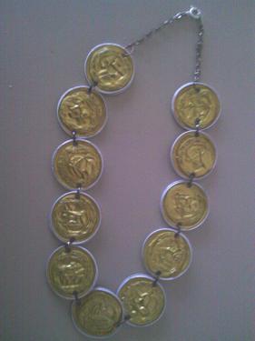 Collier capsules dorées doubles