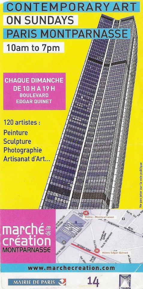 Actualité de Pascale Gillard Tous les dimanches Marché de la création Montparnasse