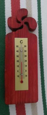 Thermomètre intérieur. environ 14/5cm rouge  pin ou peuplier