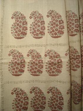 �tole en �tamine de laine teinte et imprim�e � la main , exemplaire unique , dessin exclusif fra-jos�phine�