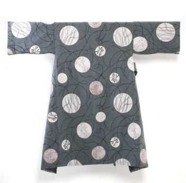 manteau d'intérieur en lin doublé coton teint et imprimé à la main , taille unique , exemplaire unique , dessin exclusif fra-joséphine®