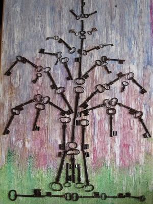 Actualité de NICOLE BOURGAIT THIERRY LE SET DES FLEURS 27. ARBRE DE VIE, réalisée avec des clefs anciennes d'églises du Val de Loir