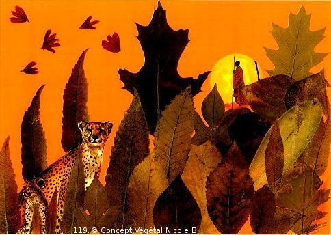 Mod�le.11. PAYSAGE AFRICAIN  Ch�taignier : L'Honn�tet� Ch�ne Rouge : Force et courage. Cornouiller : Stabilit� !  R�alis� avec des fleurs et diff�rents v�g�taux.  Reproduit sur support plastifi� 160 microns. Dimensions30x42cm  LE DUO exp�di� en COLISSIMO dans les 5 jours qui suivent la r�ception du r�glement.  Pour 4 achet�s le 5�Gratuit