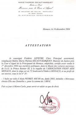 Certificat de cotation en Vente aux Enchères à Monaco:  65 Euros le point