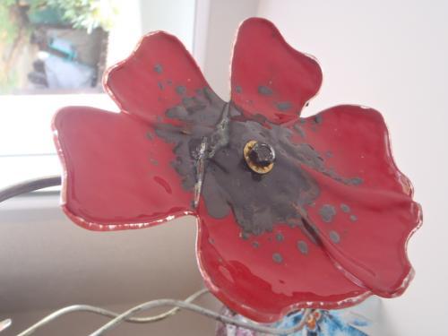 Fleur en verre sur tige à piquer dans le jardin ou mettre dans un vase