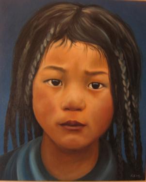 Huile sur toile 46x38 cm: Bergère tibétaine.