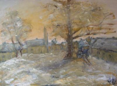 Le village enneigé, huile sur toile