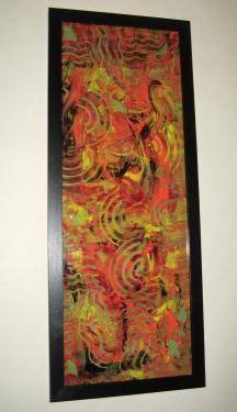 descriCREATION   ~ Plexiglas Abstrait 41px ~  Acrylique  Dimension :37x100cm    Les peintures sur plexiglas offrent des perspectives surprenantes par une technique de superposition des couleurs.   L'imaginaire, le hasard et l'expérience amènent mes ?uvres dans diverses directions artistiques.   C'est par un procédé original qui me contraint à travailler dans un ordre inverse que mes compositions prennent formes.  Site Web : www.albert-derriennic.frption