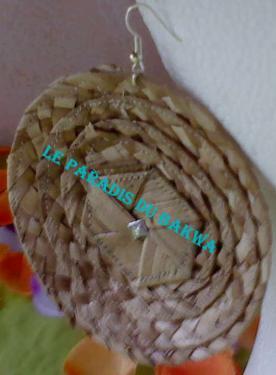 Boucles d'oreilles en disque ET en fibres de Bakoua N°1