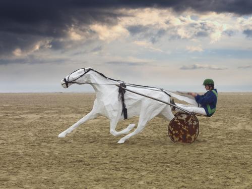 Mise en mouvement du trotteur pour une sortie d'un livre d'un photographe