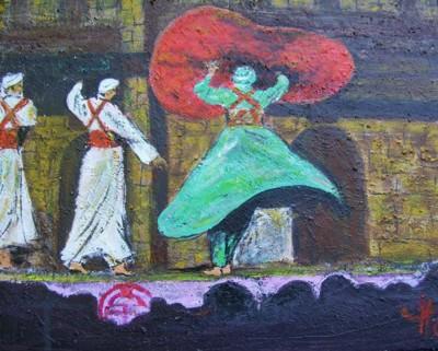Les danseurs, Egypte, acrylique sur toile