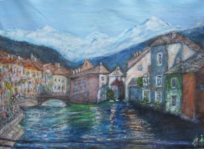 La Venise des Alpes, Annecy, aquarelle