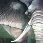 Safari: tableau sur ch�ssis toil� peinture acrylique et poudre de coquillage