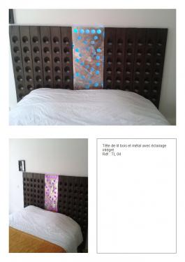 Tête de lit inox, bois et lumière