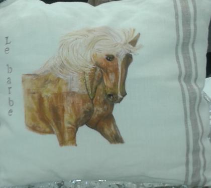 Coussin lin écru rayures : cheval