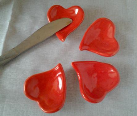 Pose couteau coeur rouge céramique émaillée, set de 5