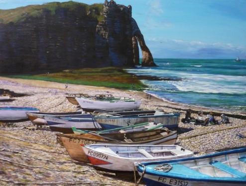 plage et falaises d etretat  tableau de peinture sculpté au mortier en 3D sur toile en vente sur mon site
