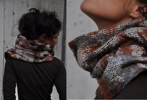 Col roux tricot� et feutr� (pure laine)