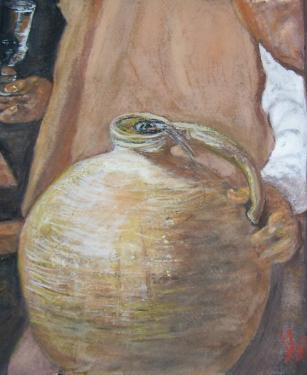 Le marchand d'eau, d�tail d'apr�s V�lasquez, aquarelle