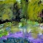 Le jardin de Monet, aquarelle