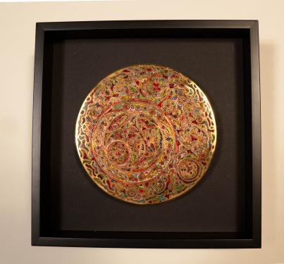Champlevé plaqué or Dimensions 12 cm de diamètre cadre a l'américaine