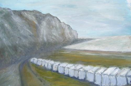 Les cabanons de plage, Normandie, acrylique sur toile