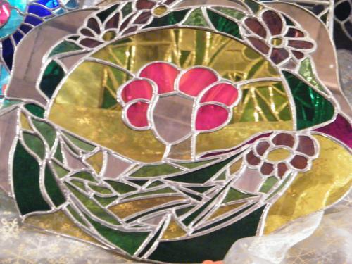 vitrail décoratif  technique Tiffany visage miroir