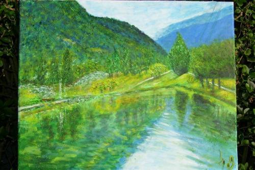 La vall�e de la Tarentaise, I., acrylique sur toile