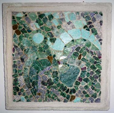 Oiseau vert  Ziolithe, amazonite, fluorine, divers.  40x40