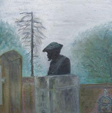 P.A.Renoir, cimeti�re � Essoyas, huile sur toile