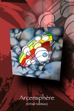 Arcensphère (vitrail tableau) 100 cm x 100 cm technique traditionnelle et peinture sur verre (grisaille, céments) verre couleur antique encadrement bois (dessin au pastel gras)